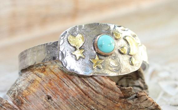 Sterling Silver Celestial Cuff, Celestial Jewelry, Turquoise Cuff, Gold Star Jewelry, Heart Bracelet, Gold Heart Bracelet