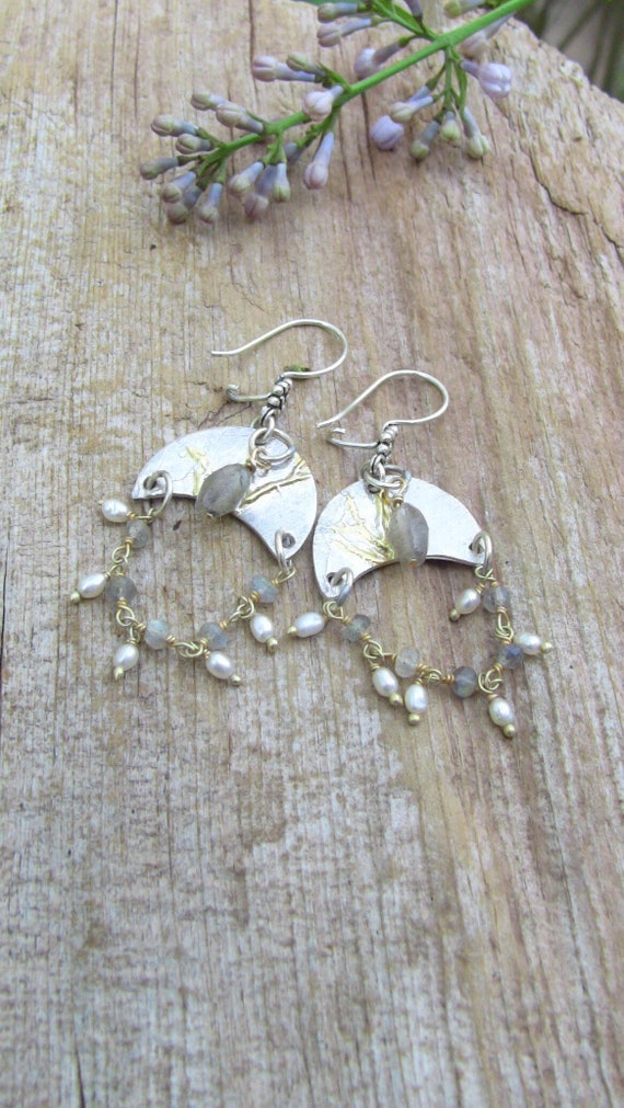 Silver and Gold Earrings, Moon Earrings, Crescent Moon Earrings, Labradorite Earrings, Pearl Earrings, Artisan Earrings, Chandelier Earrings