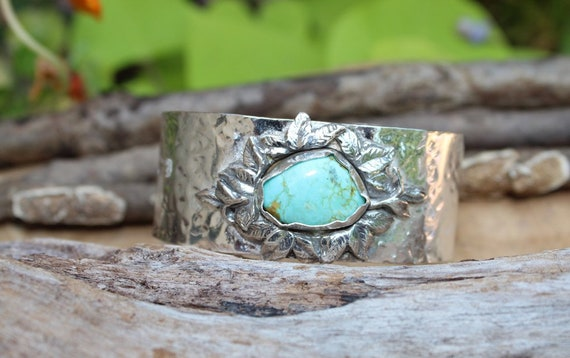 Sterling Silver Cuff, Turquoise Bracelet, Turquoise Cuff, Artisan Cuff, Silver Leaf Cuff, Hammered Silver Cuff