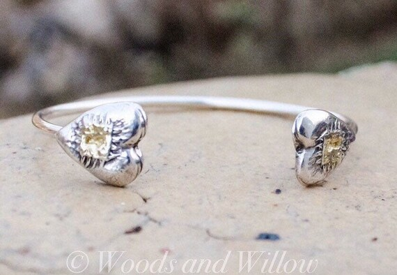 Sterling Silver Heart Bracelet, Heart Cuff, Silver and Gold Cuff, Heart and Lock Bracelet, Love Bracelet, Artisan Cuff