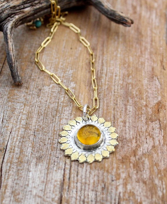 Sterling Silver and Gold Sun Salutation Necklace, Mandala Necklace, Yoga Necklace, Meditation Necklace