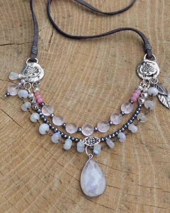 Rainbow Moonstone Necklace, Multi Layered Necklace, Artisan Necklace, Rose Quartz Necklace, Garden Necklace, Leather Necklace