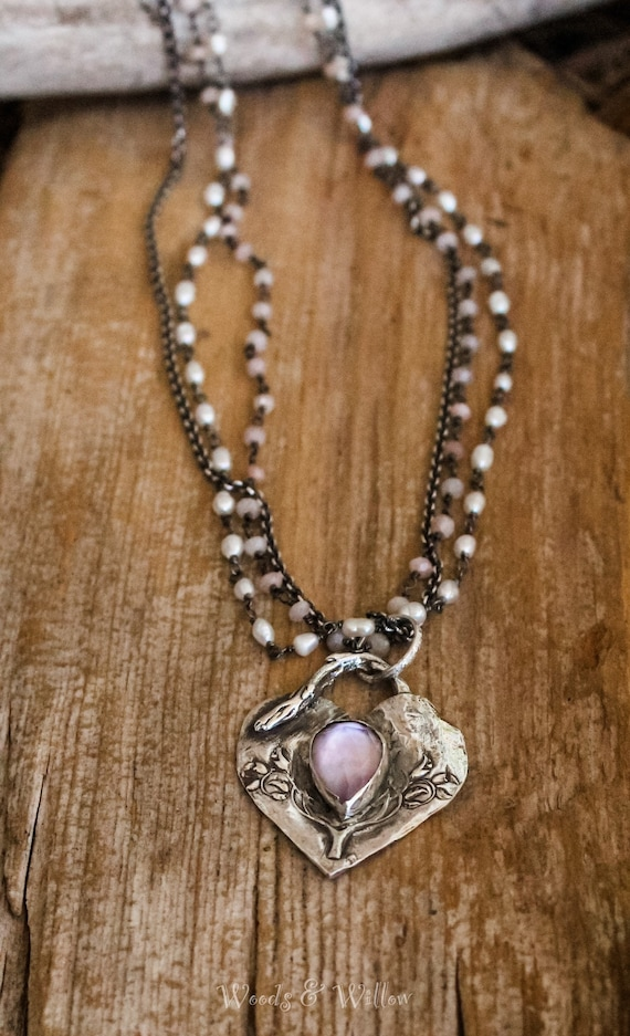 Sterling Silver Amethyst Heart Necklace with Beaded Chains, Artisan Beaded Necklace, Heart Necklace, Amethyst Necklace
