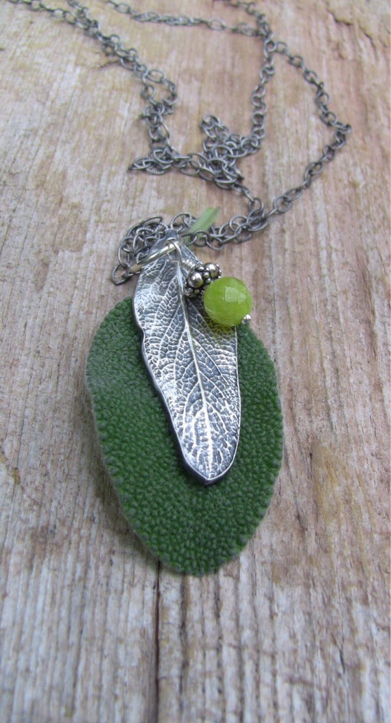 Sterling Silver Sage Leaf Necklace with Green Peridot Stone, Botanical Necklace, Garden Necklace, Handcrafted Necklace