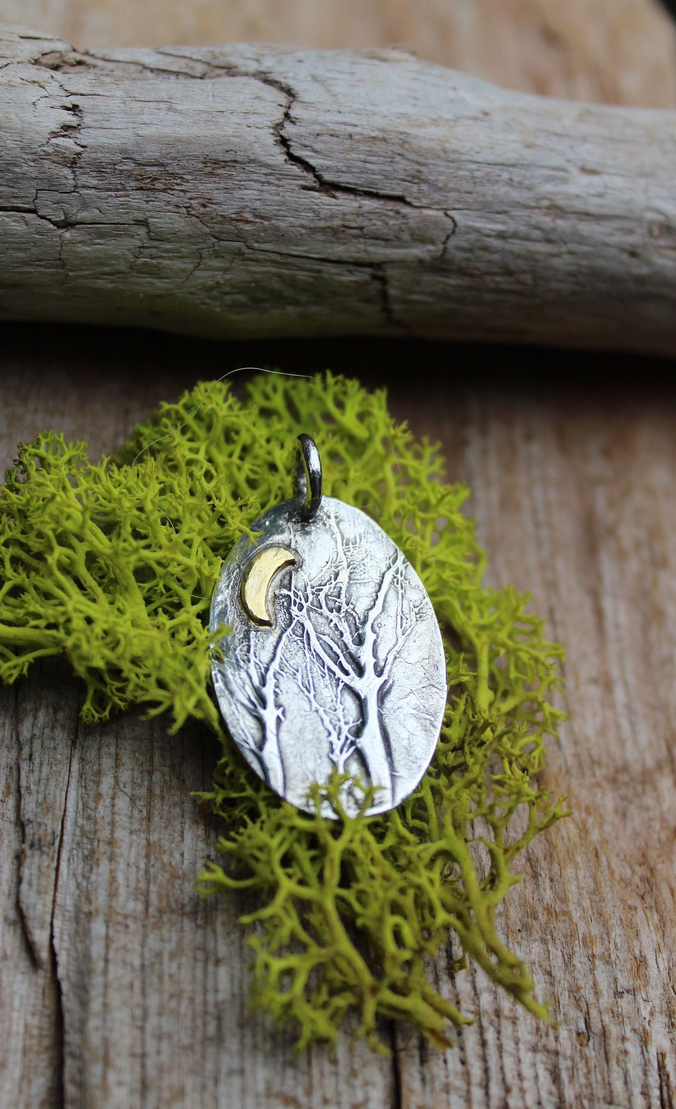 forest jewelry Forest pendant sterling silver round pendant nature jewelry Silver forest necklace nature pendant trees necklace