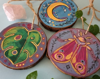 Hand Painted Wood Slice Ornament