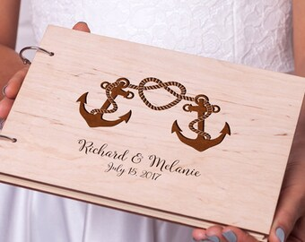 Rustic guest book Wedding guest book Nautical Anchor guestbook Custom Engraved Wooden guest book Wedding guestbook Unique guest book ideas