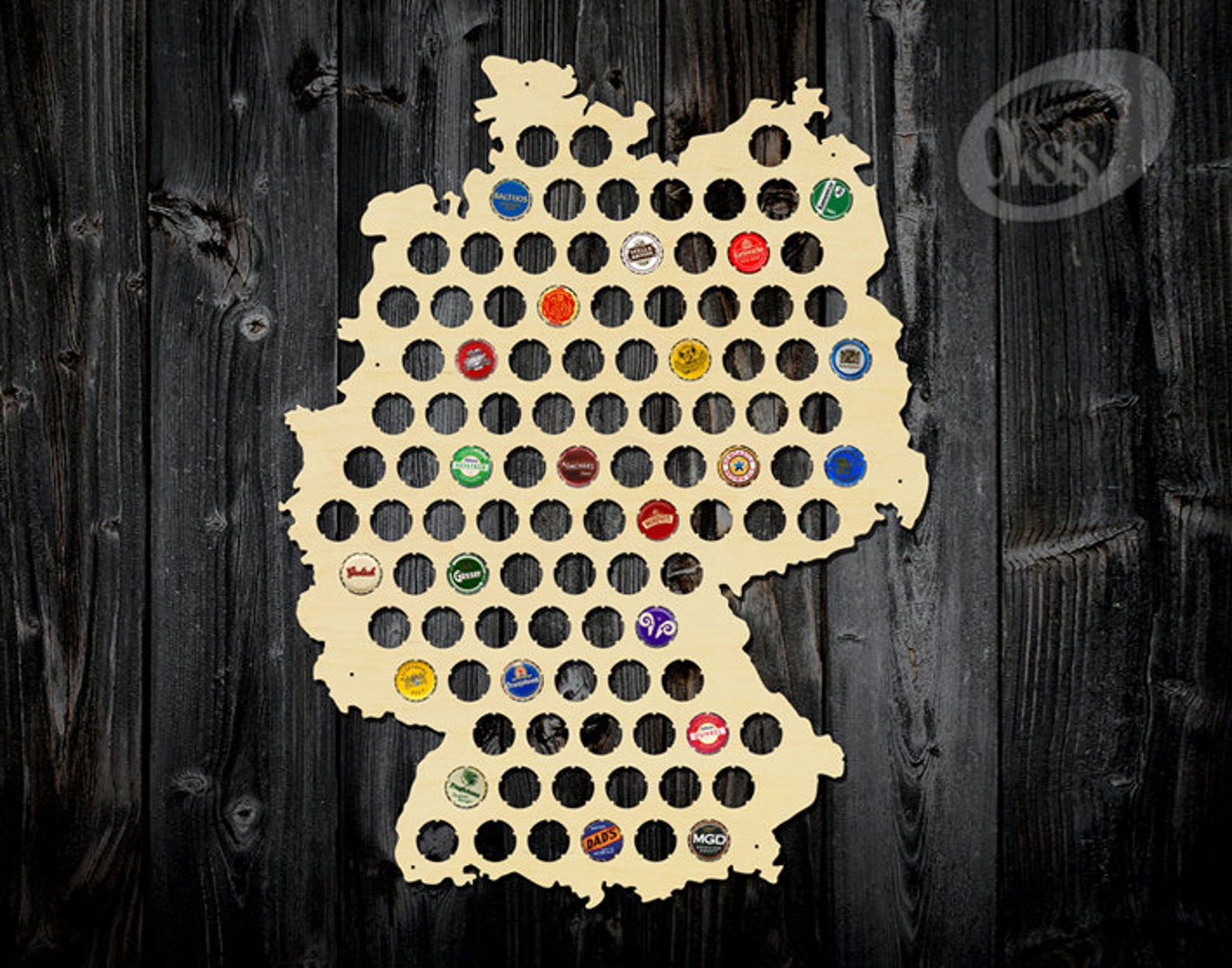 Beer Cap Map, Beer Cap Map of Germany