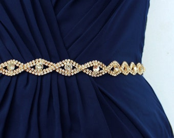 SALE Gold Bridal Belt Wedding Dress Belt Wedding belt Wedding Belts And Sashes Bridesmaid Belt Rhinestone Belt Flower Girl Belt