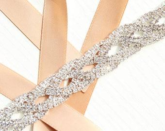 Thin Bridesmaids Belt Thin Bridal belt Crystal Bridal sash Thin Crystal Rhinestone Belt Bridal headband Wedding Dress Belt