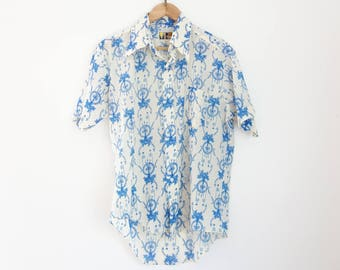 vintage 70s men's floral print shirt