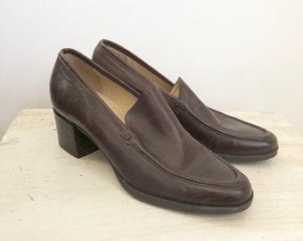5f10971fc3b vintage 90s Enzo Angiolini brown leather pumps 7