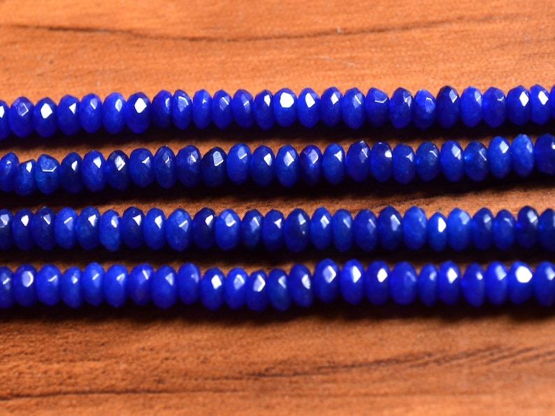 Blue Agate Micro Faceted Rondelles Beads 15 Length Strand  AAAmazing Quality Blue Agate Faceted Rondelles Bead T045