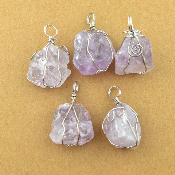 Art Silver wire wrap Amethyst healing Crystal pendant necklace