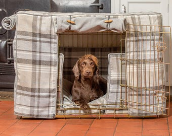 Cairngorm Tweed Dog Crate, Cover & Cushion Set -  Available in 4 sizes and 3 crate colours