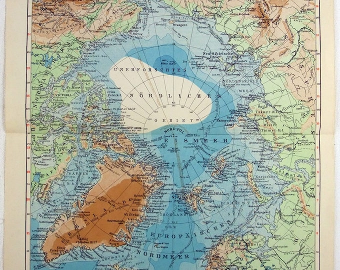 Original 1931 German Map of The Arctic Region North Pole Vintage Original Map