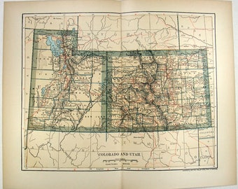 Colorado utah map | Etsy