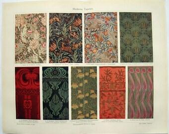 Moderne Tapeten   Original 1908 Chromo Lithographie Von Meyers. Moderne  Tapeten