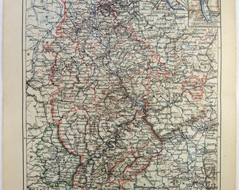 Rhineland Rhine Province Palatinate German Empire map Lithograph 1889 dated
