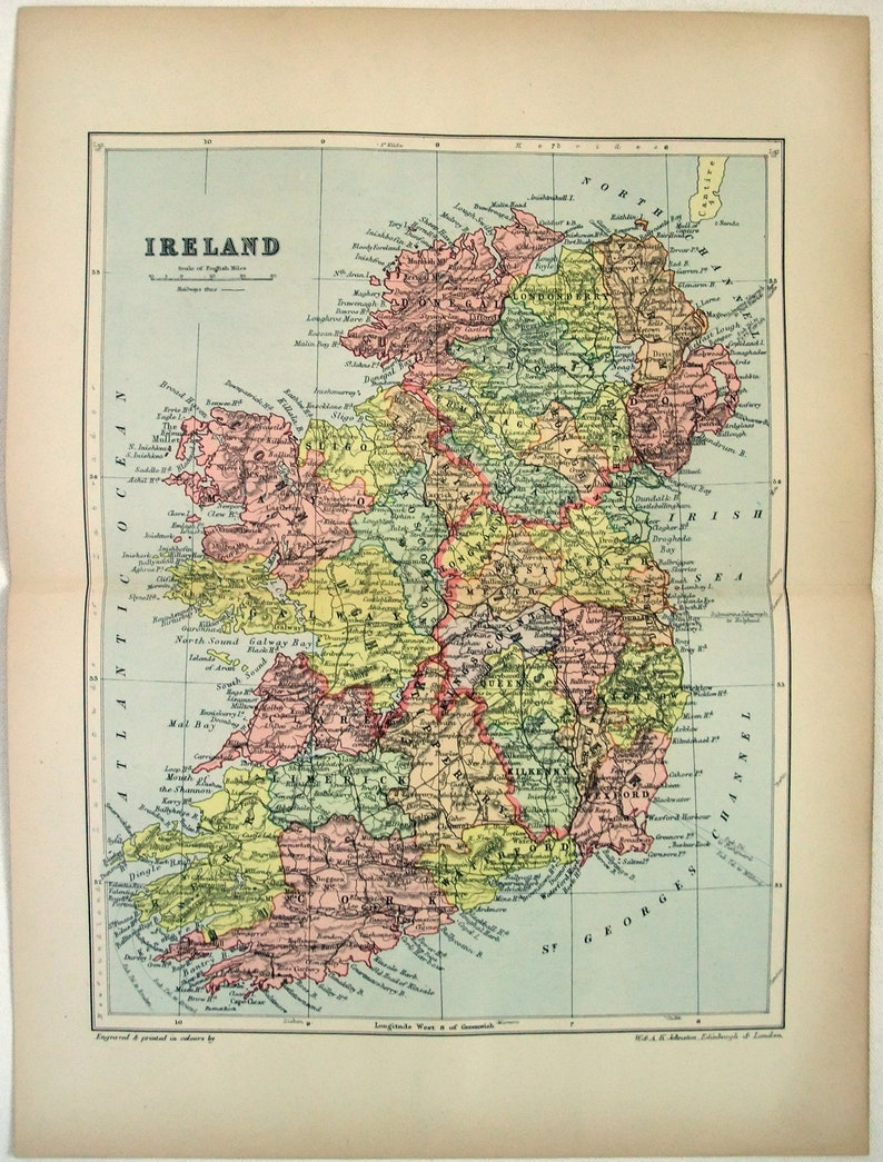 Map Of Ireland With Major Cities.Original 1895 Map Of Ireland By W A K Johnston