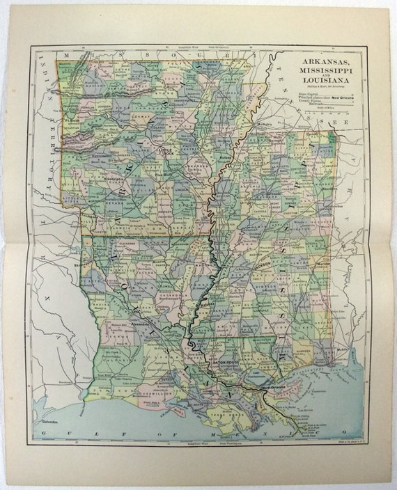 Original 1887 Map Of Arkansas Mississippi And Louisiana By Etsy