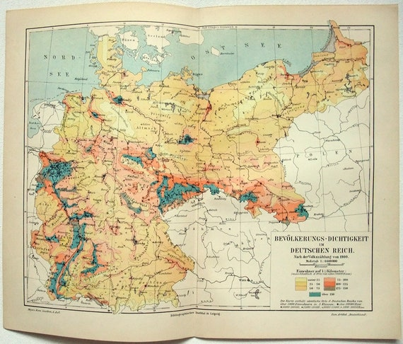 Map Of Germany 1900.Germany Population Density Map In 1900 By Meyers Deutsches Reich Antique