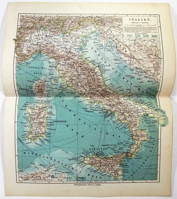 Original 1900 Map of Italy by Meyers. Antique | Etsy