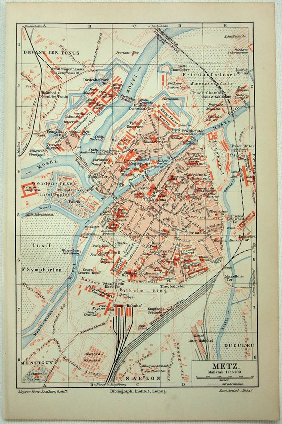 Metz Original 1907 City Map By Meyers France Lorraine Etsy