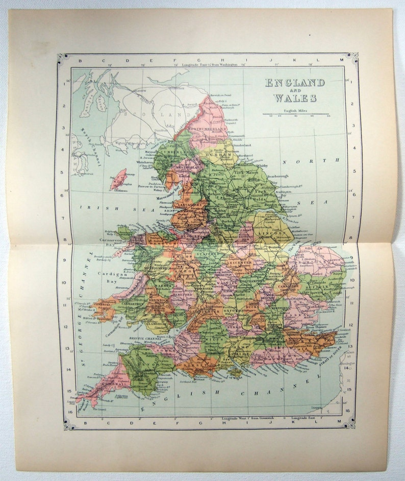 Map Of England With Counties And Major Cities.Original 1904 Map Of England And Wales Antique Map
