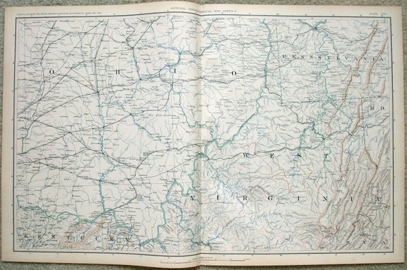 Original Map Of Ne West Virginia Se Ohio Sw Pennsylvania Etsy