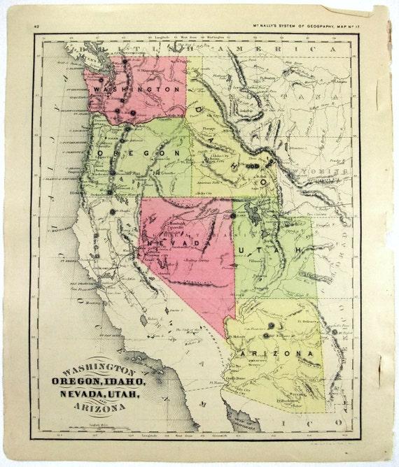 Original 1866 Map Of Washington Oregon Idaho Nevada Utah Etsy