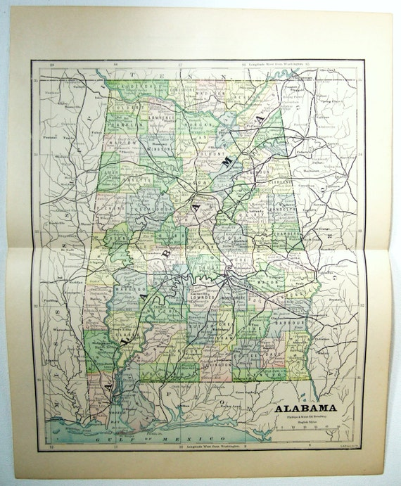Original 1882 Map of Alabama by Phillips & Hunt. Antique Original on map of all alabama towns, map of arizona cities, map of all the towns in sc, map of al, map of georgia, map of north alabama cities, map of all cities, map of united states of america, map pennsylvania cities and towns, map indiana cities and towns, map arizona cities and towns, map wisconsin cities and towns, map of illinois cities, map montana cities and towns, map of the cities of alabama, map of tennessee cities, map of usa with states and cities, map nevada cities and towns, map of florida, map of mississippi,