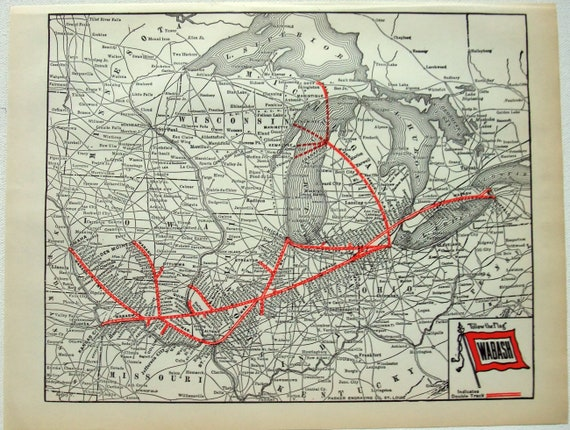 Original 1941 Wabash Railroad System Map by Parker Engraving Company. on u.s. manufacturing map, u.s. world map, u.s. earthquake map, u.s. airport map, u.s. agriculture map, u.s. oil refineries map, u.s. fire map, pre civil war railroads map, u.s. military map, u.s. immigration map, u.s.a map, mexican american civil war map, u.s. elevation map, u.s. airline map, u.s. forest map, u.s. rainfall map, u.s. highway map, u.s. temperature map, ne north carolina map, 1879 united states map,