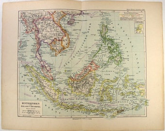 Original 1892 Map of Southeast Asia, Dutch East Indies & The Philippine Islands by Meyers