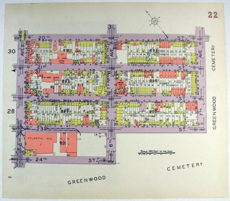 1907 CLINTON HILL BEDFORD STUYVESANT BROOKLYN NY ATLANTIC-LAFAYETTE AV ATLAS MAP