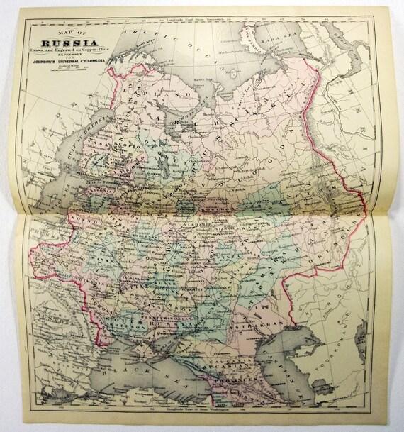 Original 1883 Copper Plate Map of Czarist Russia European   Etsy