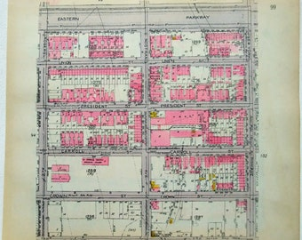 Part of Crown Heights, Brooklyn - Original 1920 Map of Rogers Ave to New York Ave from Lincoln Rd to Eastern Parkway by Belcher Hyde Antique