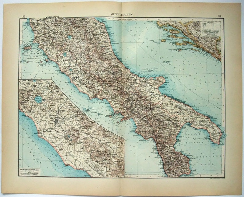 Map Of Central Italy Cities.Central Italy Original 1896 Map By Velhagen Klasing Antique
