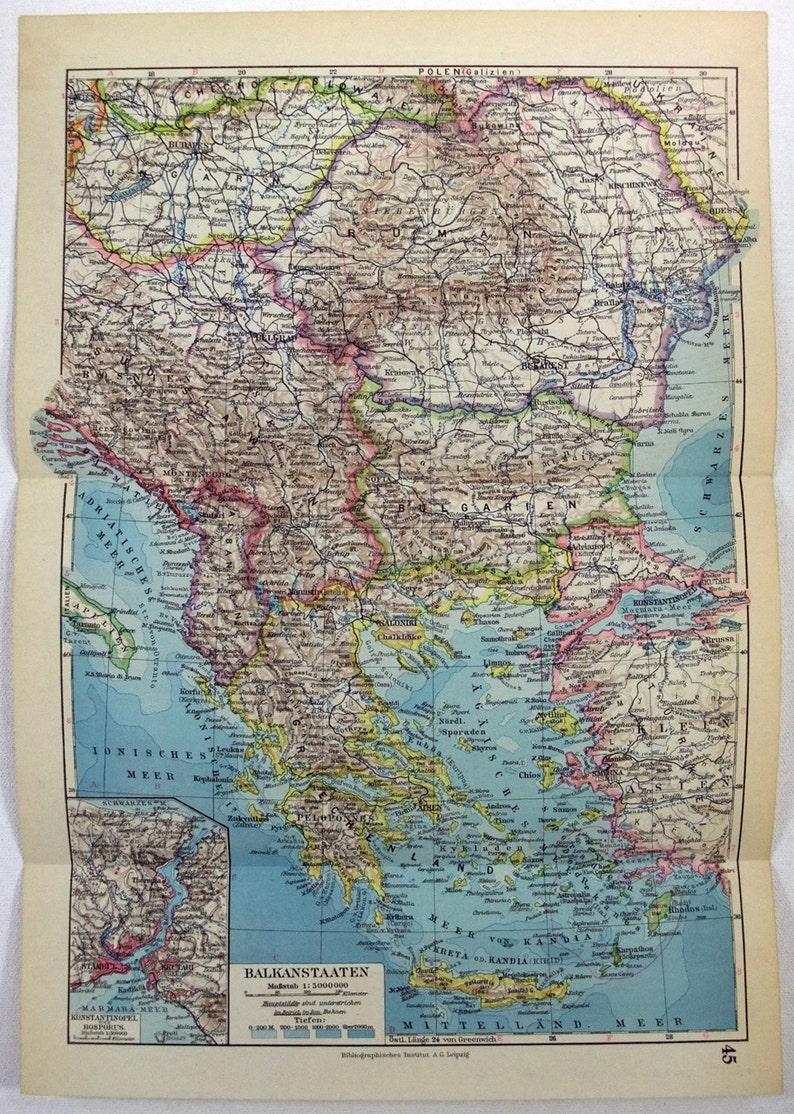 Original 1931 German Language Map of The Balkan States | Etsy