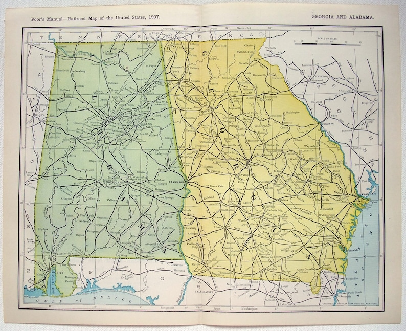 Railroad Map Of Georgia.Georgia Alabama Original 1907 Railroad Map Antique
