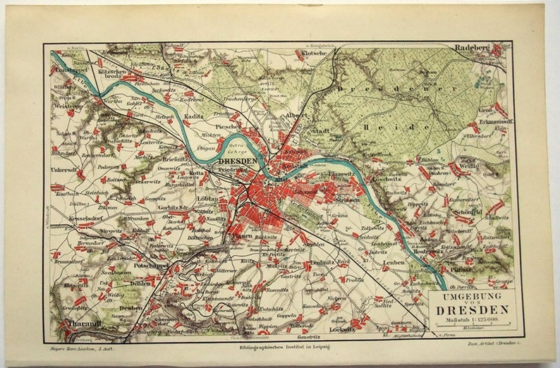 Dresden Germany Vicinity Original 1897 Map By Meyers Etsy