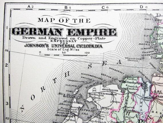 Antique Original German Empire Germany Prussia Original 1876 Copper Plate Map by AJ Johnson
