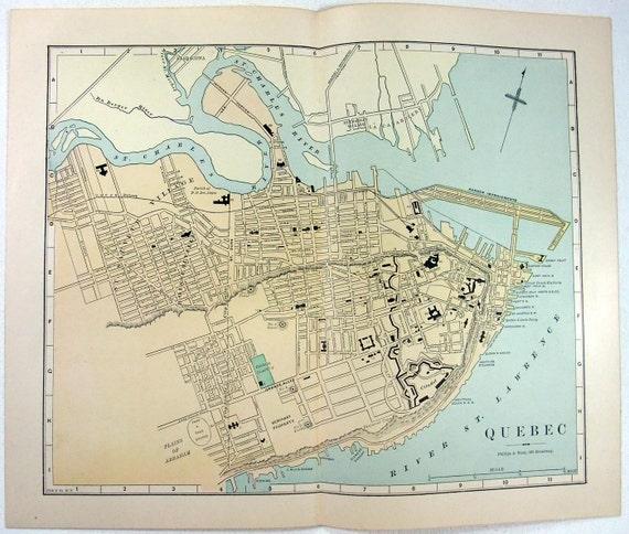 Map Of Canada Quebec City.Original 1887 Map Of Quebec City Canada By Phillips Hunt Antique Original Map