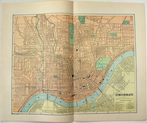 Cincinnati Map Map Of Cincinnati 1838 Ohio street map Wall map Decor Fine Print