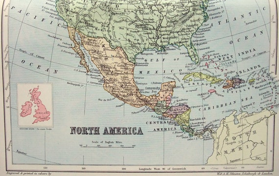 Original 1895 Map of North America by W & A. K. Johnston. Antique, on usa nuclear weapons map, us canadian map, europe map, usa mexico map, usa government map, gps usa map, usa france map, usa guatemala map, usa dominican republic map, north america map, usa ukraine map, australia map, usa spain map, usa coastal map, large usa map, alaska map, south america map, usa americas map, usa iran map,