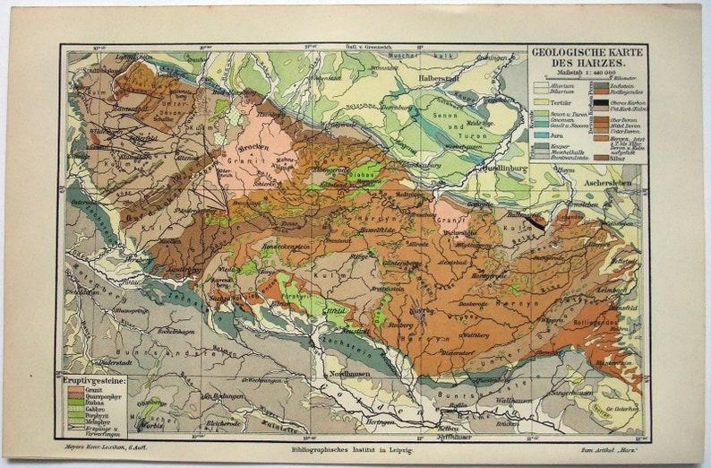 Geologische Karte Thüringen.Original 1905 Geologische Karte Des Harzes Von Meyers Harzes Niedersachsen Sachsen Anhalt Und Thüringen Antik