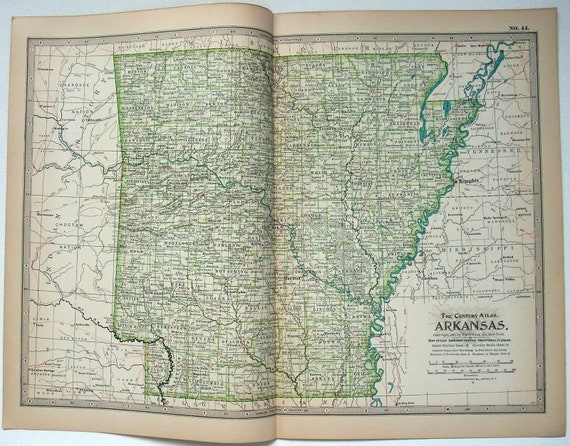 Original 1897 Map of Arkansas by The Century Company. Antique