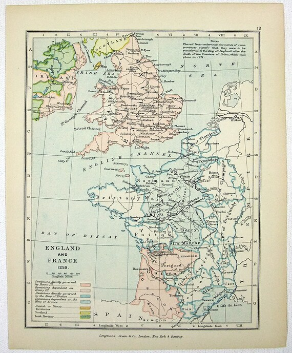 Vintage Map of England & France in 1259 - Published by Longmans Green in  1905