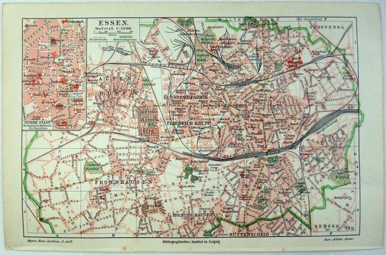 Essen Germany Original 1905 City Map By Meyers Antique Etsy