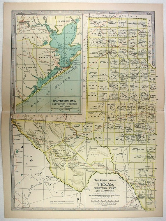 Map Of Western Texas.Original 1902 Map Of Western Texas By The Century Company Antique